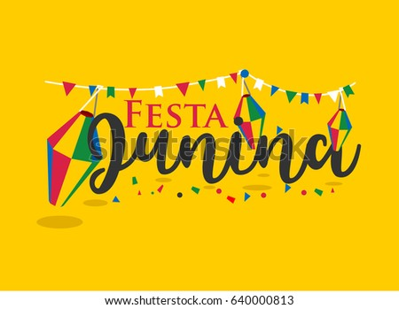 Festa Junina Carnival  typography in Flat style on yellow Background. vector Illustration eps.10
