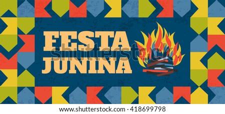 Festa Junina illustration - traditional Brazil June festival party. Fire. Vector illustration. - stock vector
