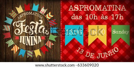 Festa Junina illustration traditional Brazil June festival party. Vector illustration. Poster.