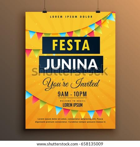 Festa junina invitation poster design garlands stock vector 2018 festa junina invitation poster design with garlands stopboris Gallery