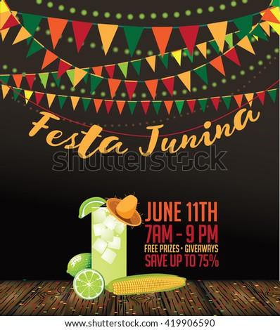 Festa Junina (June party) marketing design. EPS 10 vector illustration - stock vector