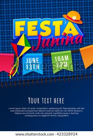 Festa Junina poster. Brazilian june party. Latin American holiday background. - stock vector