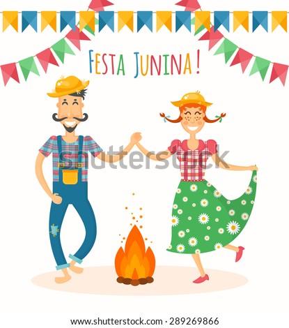 Festa Junina Vector Illustration Traditional Brazilian ...