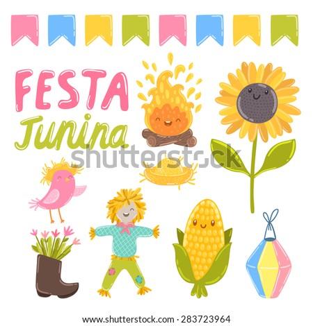 Festa junina vector illustrations. Fire, sunflower, bird, flowers, hat, boot, corn, lantern and scarecrow.
