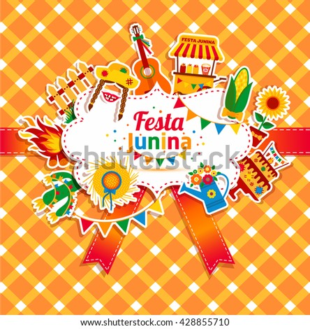 Festa Junina village festival in Latin America. Icons set in bright color. Flat style decoration. - stock vector