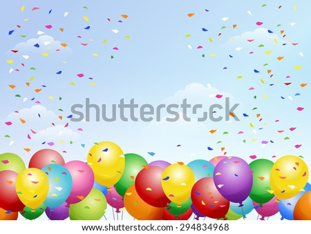 Festival background with colorful balloons and scattered confetti. Celebration.  - stock vector
