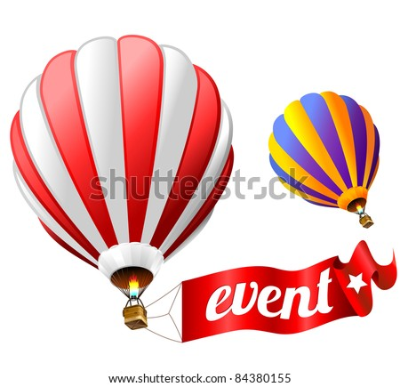 festival holiday event sign with two hot air balloons - stock vector