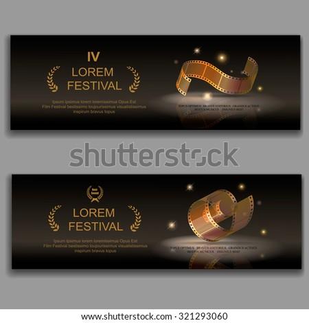 festival movie banners,  camera film 35 mm roll gold,  Slide films frame, vector illustration - stock vector