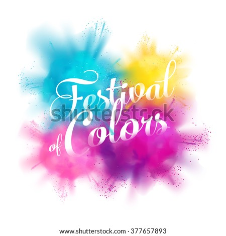Festival of colors vector design element with realistic volumetric colorful Holi powder paint clouds and sample text. Ideal for banners, invitations and greeting cards - stock vector