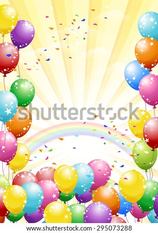 Festival rainbow background with colorful balloons and scattered confetti. Celebration. - stock vector
