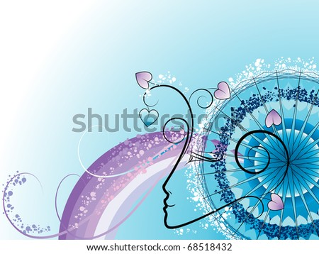 Festive abstract background with decorative elements in the form of a female silhouette with vegetative and geometrical patterns