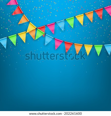 Festive background color flags. Festive vector background with a garland from tags and confetti - stock vector