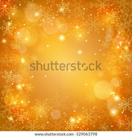 Festive background for Christmas or New Year design. Winter card with snowflakes, sparkles and space for text. Vector illustration. - stock vector