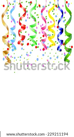festive background with a serpentine and confetti,  vector  illustration