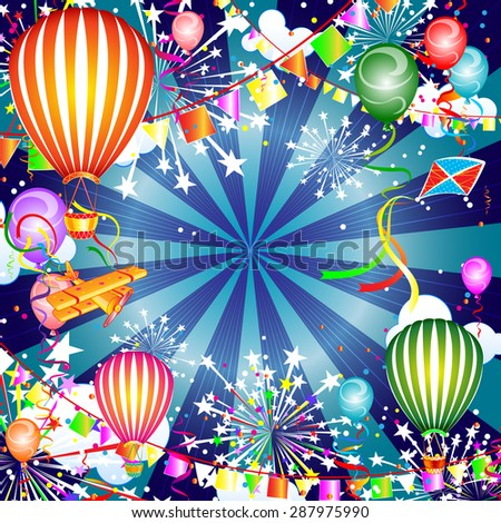 Festive background with balloons and fireworks, vector illustration