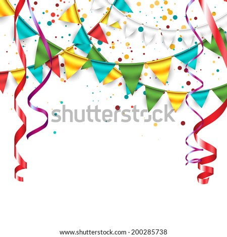 Festive Background with Buntings and Confetti 2 - stock vector