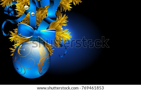 Festive background with Christmas ball and golden fir branch. Highly realistic illustration.