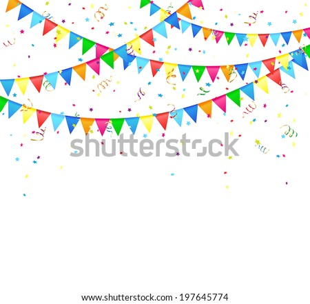 Festive background with colored flags and confetti, illustration. - stock vector