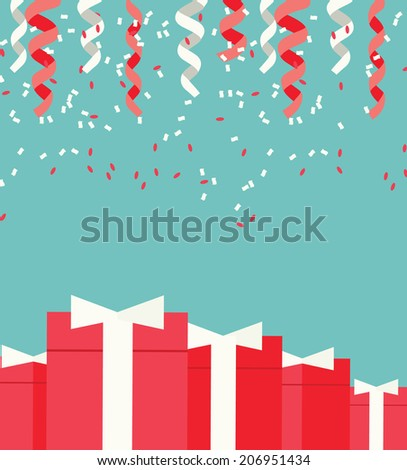 Festive background with confetti and gifts, vector illustration - stock vector
