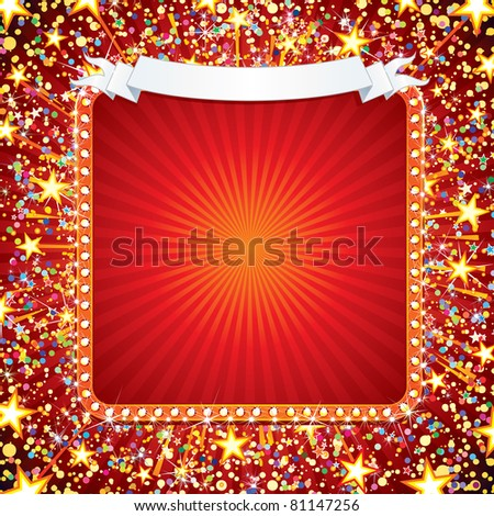 Festive Background with Fireworks, Confetti, Stars and Sparks. Ready for your own text or design