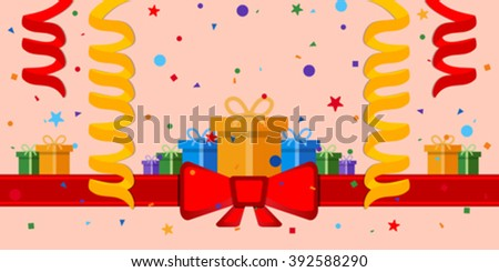 Festive background with gift boxes and red ribbon. Eps 10 - stock vector