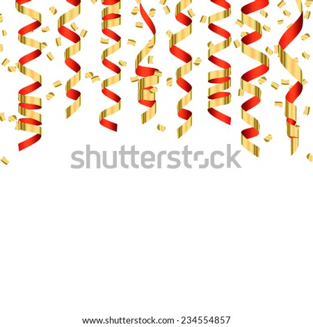 Festive background with gold and red shiny streamers and confetti, vector illustration.