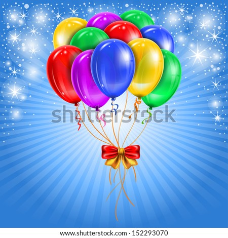 Festive background with multicolored balloons. Vector. - stock vector