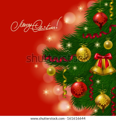 Festive background with realistic balls, Christmas trees for cards, invitations. Vector illustration. EPS10.