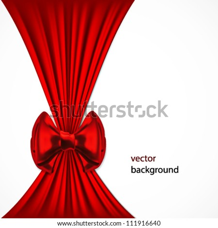 Festive background with red bow. - stock vector
