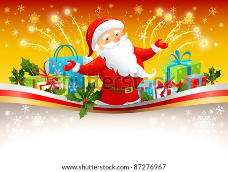 Festive background with Santa Claus - stock vector