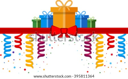Festive banner with gift boxes and red ribbon. Eps 10 - stock vector