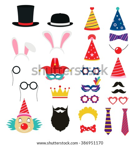 Festive birthday party elements of props. Hats, glasses, masks,  - stock vector