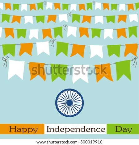 Festive bunting for India Independence Day or republic Day in traditional colors ideal as greeting card - stock vector