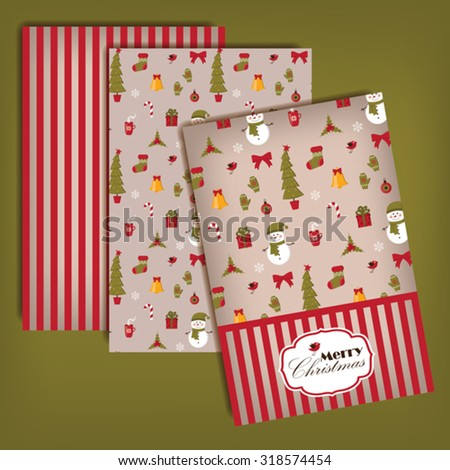 Festive card template with Christmas symbols, seamless background  - stock vector