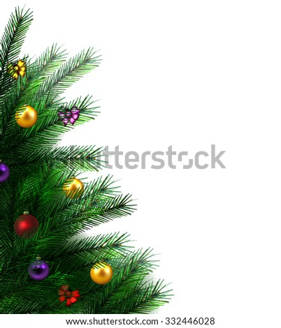 festive Christmas tree. vector border. - stock vector