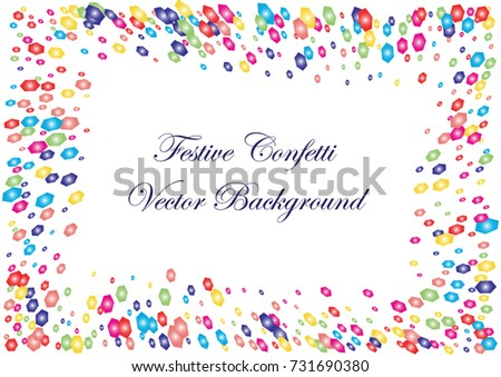 Festive colorful hexagon confetti background. Twisted  vector texture for holidays, postcards, posters, websites, carnivals, birthday and children's parties. Cover mock-up. New year, Christmas theme
