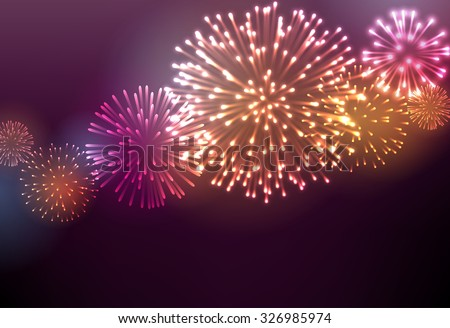 Festive colour firework background. Vector illustration. - stock vector