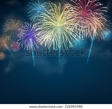 Festive colour firework background. Vector illustration. - stock vector