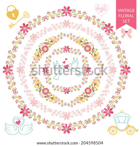 Festive design template set in Retro style with floral Frames, wreaths, wedding icons.Pigeons, swans, lock,key,carriage,bow for Wedding  invitation, greeting card, cover.Festive celebration vector. - stock vector
