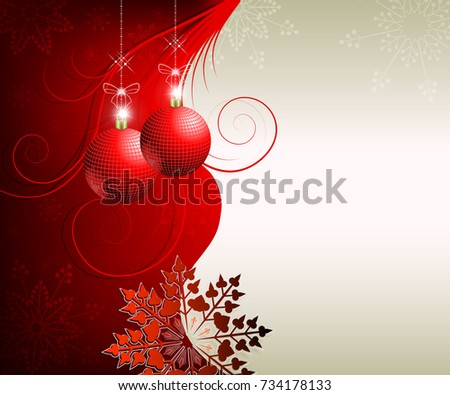 Festive Design With Christmas Red Balls Snowflakes And Space For Text