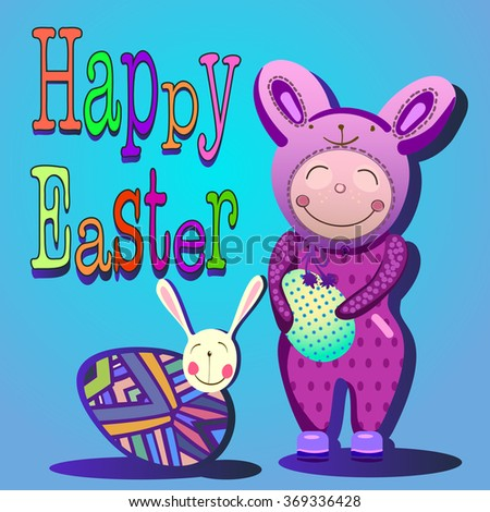 "Festive Easter card with a child dressed in a rabbit costume, the word ""Happy Easter"" egg and in the patterns and rabbit."