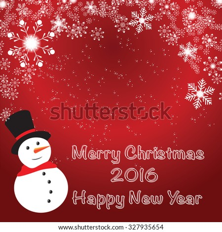 Festive elegant abstract on red background with bokeh lights, sparkling textured beautiful snowman and place for text.Vector Illustration.