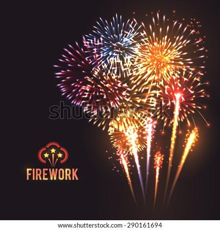 Festive firework rockets bursting in big sparkling star balls poster with black background abstract vector illustration - stock vector