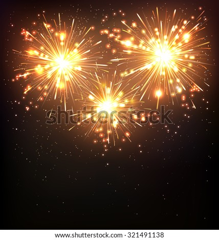 Festive Firework Salute Burst on Black Background - stock vector