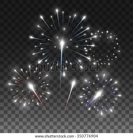 Festive firework salute burst. Vector illustration isolated on transparent black background, eps 10. - stock vector