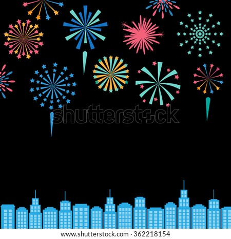 Festive fireworks in the city at night, celebration background, vector illustration. Can be used for  banner, card, customer sale and promotion, web design. vector illustration - stock vector