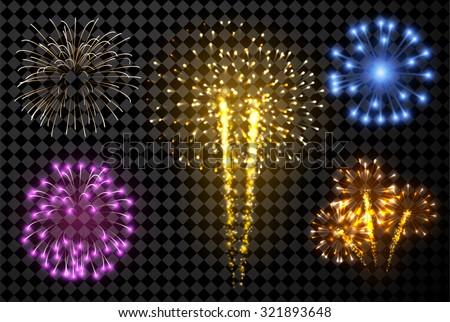 Festive fireworks set isolated on black background. Vector illustration. - stock vector