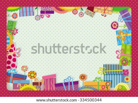 Festive frame with colorful gift boxes. Application of decorative colors and packages. - stock vector