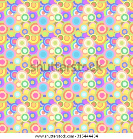 Festive fun seamless pattern of bright cheerful multi-colored circles. - stock vector