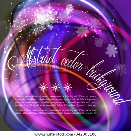 Festive fun vector background. Abstract saturated purple frame with snowflakes - stock vector